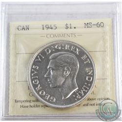 Silver $1 1945 ICCS Certified MS-60