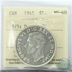 Silver $1 1945 5/5; Double HP ICCS Certified MS-60. Scarce key date coin with both varieties