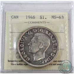 Silver $1 1946 ICCS Certified MS-63 Cameo.