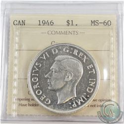Silver $1 1946 ICCS Certified MS-60
