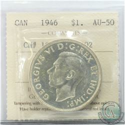 Silver $1 1946 CH# 1946 Rev-002 ICCS Certified AU-50