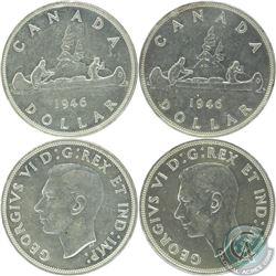 Silver $1 1946 EF-AU (scratched) & 1946 SWL EF-AU (Cleaned). 2pcs