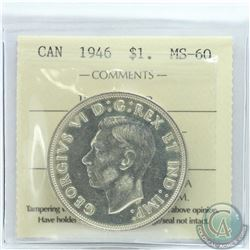 Silver $1 1946 Double HP ICCS Certified MS-60