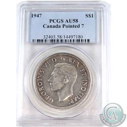 Silver $1 1947 Pointed 7 PCGS Certified AU-58