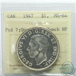 Silver $1 1947 Pointed 7; Quadruple Punch HP ICCS Certified MS-64. *TOP 10*  Tied for the finest Kno