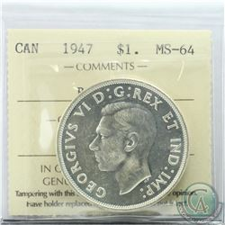 Silver $1 1947 Blunt 7 ICCS Certified MS-64. Bright coin with hints of golden toning.