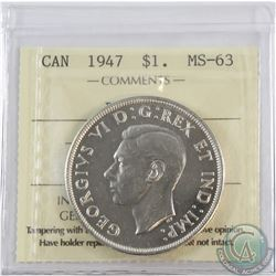 Silver $1 1947 Blunt 7 ICCS Certified MS-63