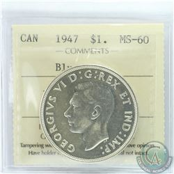 Silver $1 1947 Blunt 7 ICCS Certified MS-60