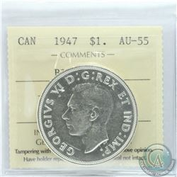 Silver $1 1947 Blunt 7 ICCS Certified AU-55