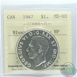 Silver $1 1947 Blunt 7; Double HP ICCS Certified MS-60