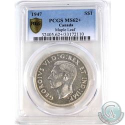 Silver $1 1947 Maple Leaf PCGS Certified MS-62+