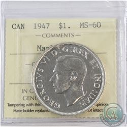 Silver $1 1947 Maple Leaf ICCS Certified MS-60