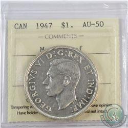 Silver $1 1947 Maple Leaf ICCS Certified AU-50.
