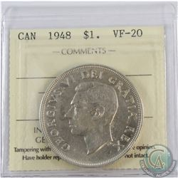 Silver $1 1948 ICCS Certified VF-20. *KEY DATE* A Nice mid grade example.