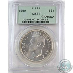 Silver $1 1950 PCGS Certified MS-67  A Near Flawless coin with exceptional eye appeal