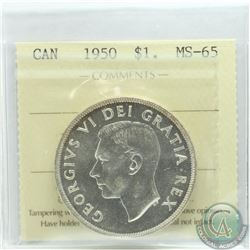 Silver $1 1950 ICCS Certified MS-65