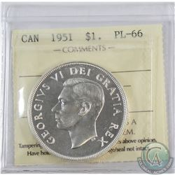 Silver $1 1951 ICCS Certified PL-66  Pristine coin with near flawless fields.