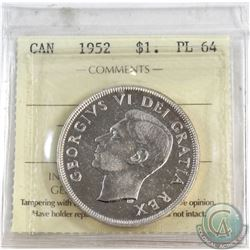 Silver $1 1952 NWL ICCS Certified PL-64.