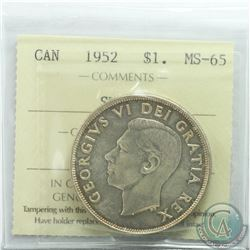 Silver $1 1952 SWL ICCS Certified MS-65. highest grade by ICCS TOP 10 * Scarce*