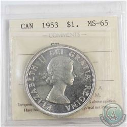Silver $1 1953 SF ICCS Certified MS-65