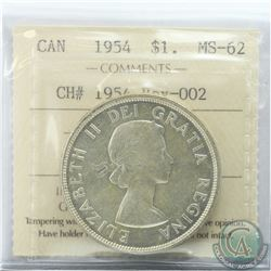 Silver $1 1954 CH# 1954 Rev-002 ICCS Certified MS-62