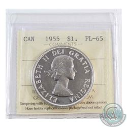 Silver $1 1955 Arnprior ICCS Certified PL-65.