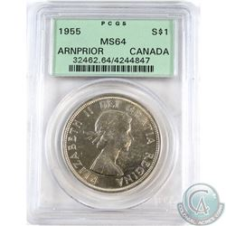 Silver $1 1955 Arnprior PCGS Certified MS-64. Coin contains a Die Break not mentioned on the holder.