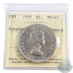 Silver $1 1955 Arnprior with Die Breaks ICCS Certified MS-63.