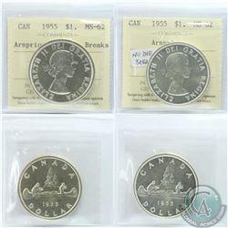 Silver $1 1955 Arnprior with Die Breaks & 1955 Arnprior no Die Break ICCS Certified MS-62. 2pcs