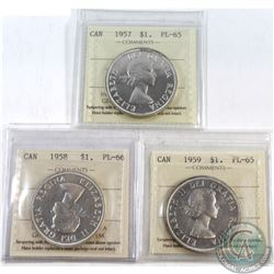 Silver $1 1957 PL-65, 1958 PL-66, 1959 PL-65. All coins have been certified by ICCS. 3pcs.