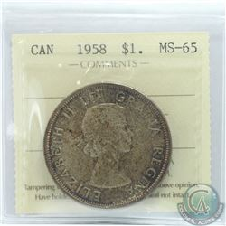 Silver $1 1958 ICCS Certified MS-65. Medium toned coin.
