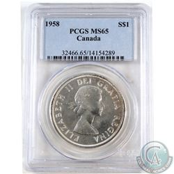 Silver $1 1958 PCGS Certified MS-65.