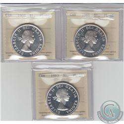 Silver $1 1960 Cameo, 1961, & 1963 Cameo, All ICCS Certified PL-66 . 3pcs