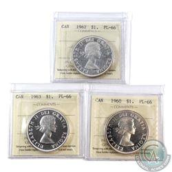 Silver $1 1960 Cameo, 1962, & 1963 Cameo ICCS Certified PL-66. 3pcs
