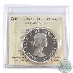 Silver $1 1962 ICCS Certified PL-66 Heavy Cameo