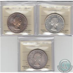 Silver $1 1962, 1963 Cameo, & 1964 ICCS Certified MS-64. 3pcs