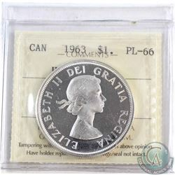 Silver $1 1963 ICCS Certified PL-66 Heavy Cameo