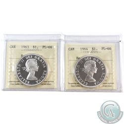 Silver $1 1963 & 1964 ICCS Certified PL-66 Heavy Cameo. 2pcs