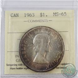 Silver $1 1963 ICCS Certified MS-65  Attractive light toning throughout with bright centers.