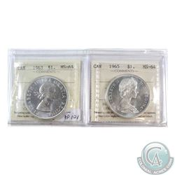 Silver $1 1963 & 1965 Type V ICCS Certified MS-64. 2pcs
