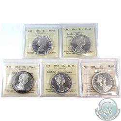Silver $1 1964-1967 ICCS Certified Lot. You will receive a 1964 PL-66 Cameo, 1965 LgeBds Blt 5 PL-65