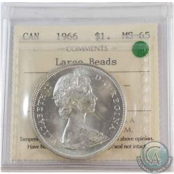 Silver $1 1966 Large Beads ICCS Certified MS-65  Bright Lustrous coin.
