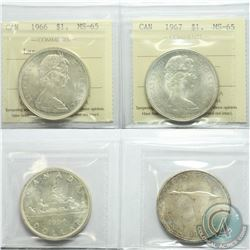 Silver $1 1966 Large Beads & 1967 Both ICCS Certified MS-65. Lustrous coins with light hints of toni