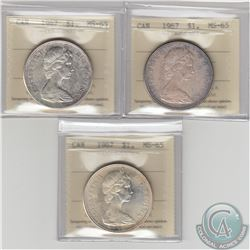 Silver $1 1967 ICCS Certified MS-65. 3pcs