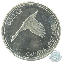 Silver $1, 1967 Diving Goose Variety (Obv. 001/ Rev. 005) in Choice BU condition.