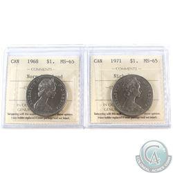 Nickel $1 1968 Normal Island & 1971 ICCS Certified MS-65. 2pcs