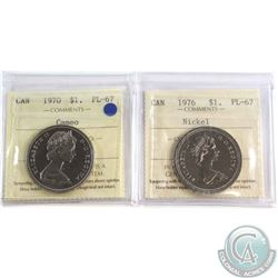 Nickel $1 1970 Cameo, & 1976 Both ICCS Certified PL-67  2pcs.
