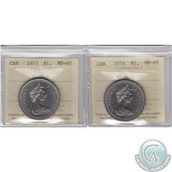 Nickel $1 1973 & 1974 ICCS Certified MS-65. 2pcs