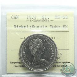 Nickel $1 1974 Double Yolk #2 ICCS Certified MS-63
