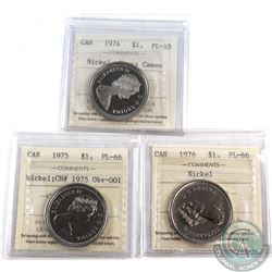 Nickel $1 1974 PL-65 Heavy Cameo, 1975 CH# 1975 Obv. 001 PL-66, & 1976 PL-66. All coins have been ce